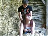 Amateur couple in the barn