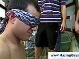Blindfolded gay students waiting for a dick