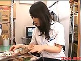 Japanese slut toying her cunt