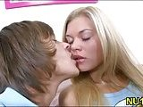 Blonde teen makes love
