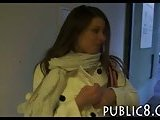 Big natural tits amateur fuck in public