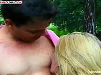 Blond ladyboy has fuck in the forest