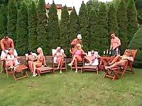 Crazy orgy party outdoor