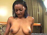 Naked black hoe gives handjob