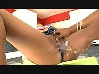 Dirty ebony lesbos with strapon
