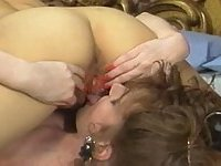 Lustful vintage lesbos with vibrator