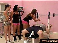 Cfnm jerking in gym with three girls