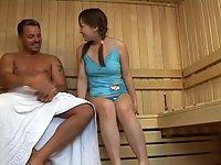 Japanese hairy twat banged in sauna