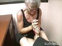 POV blowjob with granny