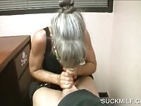 POV blowjob with granny