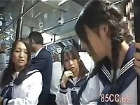 Cute schoolgirl molested by bus geek 02