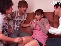 Busty Japanese hairy cunt fingering
