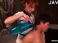 Japanese girl footjob scene