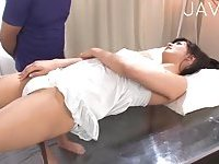 Japanese gets her hairy cunt teased