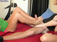 Two Females do foot worship and give Footjob