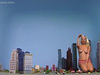 Blonde giantess Danielle destroy building city