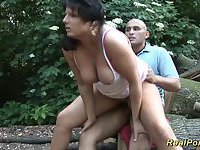 Chubby babe gets wild fucked in the forest