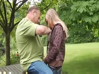 Old fart eats a teen girl outdoor