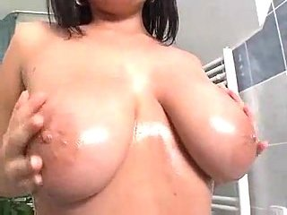 Seductive Brunette With Big Juggs Creamed