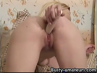 Busty slut masturbating solo