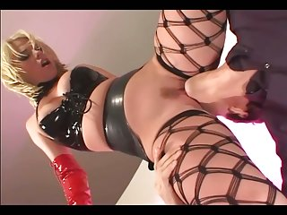 Anal in latex and thigh high fencenet stockings