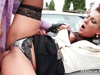 Sexy babe getting hard fucked outside