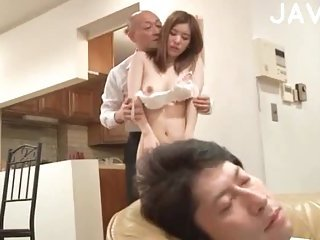 Horny Couple Banging Next To Sleeping Guy