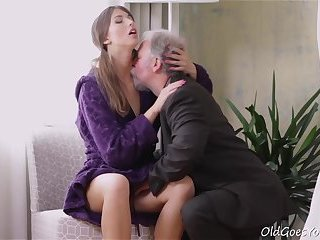 Young Marisa was so horny that even though this dude was old she fucked him