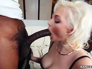 Hot blonde sucks a black cock