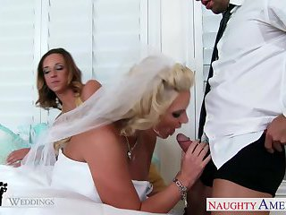 Sexy babes Jada Stevens and Phoenix Marie share cock at wedding