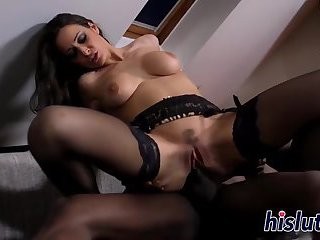 Busty Martina pleasures a big black cock